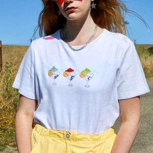 Vintage Cocktail Embroidered White T-Shirt